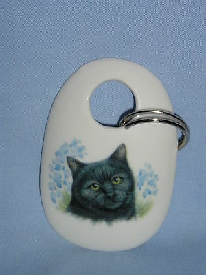 Cat Black with Blue Flowers Key Chain Porcelain Fired Head Decal Handmade