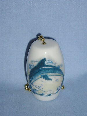 Blue Dolphin Fan & Light Pull Porcelain Fired Decals Handmade 2 Inch Long