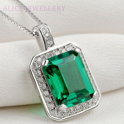 3.1CT Green Emerald White Sapphire 925 Sterling Silver Pendant Chain Necklace