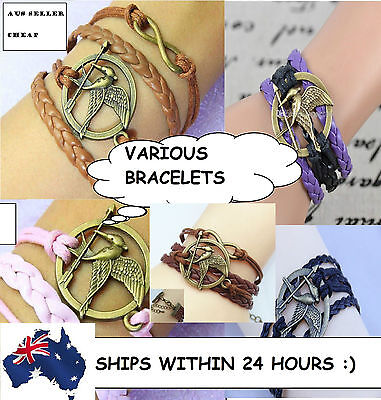 Variations Infinity,arrow,mockingjay, Catching Fire Bracelet The Hunger Games