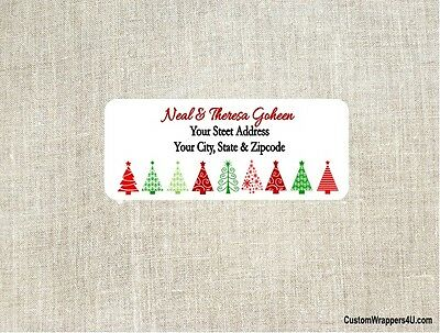 Christmas Holiday Trees Return Address Labels Personalized