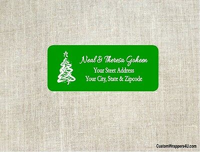 Christmas Holiday Tree Return Address Labels Personalized