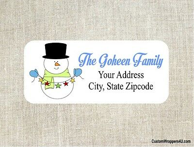 Christmas Holiday Snowman Return Address Labels Personalized
