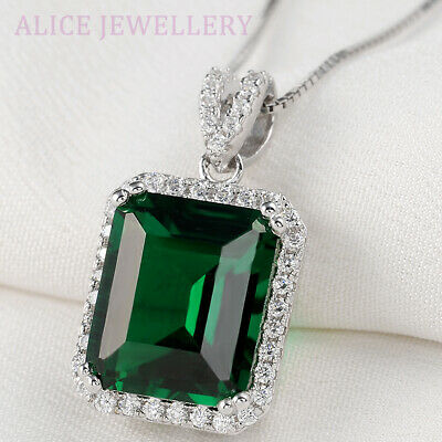 5.3CT Green Emerald White Sapphire 925 Sterling Silver Pendant Chain Necklace