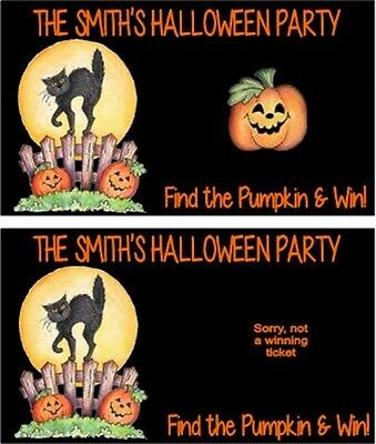 Halloween Black Cat Party Scratch Off Tickets Game Cards Favors Personalized
