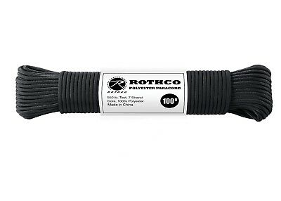 Paracord Rope 550LB 7 Strand 100% Polyester Type III  100 Foot BLACK