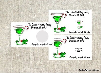 Christmas Holiday Cocktail Party Scratch Off Tickets Game Cards Favors Custom