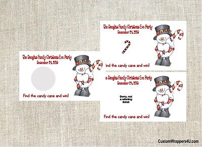Christmas Holiday Snowman Party Scratch Off Tickets Game Cards Favors Custom