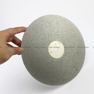 "8"" Inch Grit 80# Diamond Coated Flat Lap Wheel Lapidary Metal Polishing Discs"
