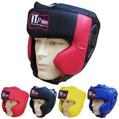 Leather Boxing Head Guard Helmet Face Protection Kick Boxing Gloves Guard Adult
