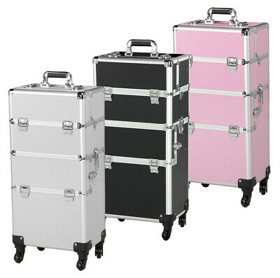 3 in 1 Aluminum Rolling Makeup Train Case Professional Beauty Cosmetic Trolley