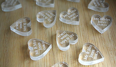 Personalised Wedding Table Decorations Confetti Favours Scatters Clear Hearts