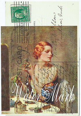 Quilt Art Fabric Block*new Design*girl At Dressing Table Flapper Style*postcard
