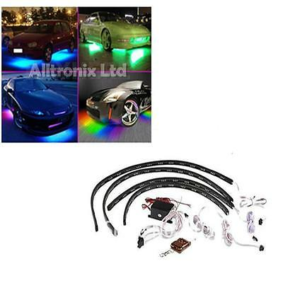 Multi Coloured Under Car Led Lighting Kit 4 Pcs Strips Universal Fit Mg Zr Zs Zt