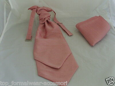 Dusky Pink MENS Ruche Tie-Cravat and Hankie Set-The More U Buy>The More $ U Save