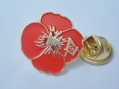 Masonic Remembrance Veterans Armistice Day Poppy Lapel Pin Badge and Gift Pouch