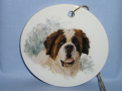 Saint Bernard Dog 3 Inch Round Christmas Tree Ornament Porcelain Fired Decal-L