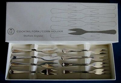 Sheffield Cocktail Forks/Corn Holders Silver Plate Set of Eight