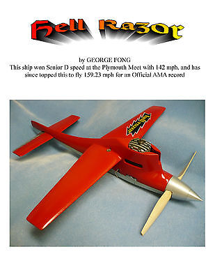 VINTAGE 1949 MODEL AIRPLANE PLANS CLASS B HELL RAZOR PLAN & BUILDING NOTES