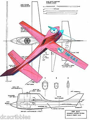 """Model Airplane PLANS Class C Speed 21 3/8"""" .60 """"Top C.A.T. F/S Plan & note on Cd"""