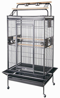 NEW Large Wrought Iron Open Play Top W/Double Ladders Parrot Macaw Bird Cage-102