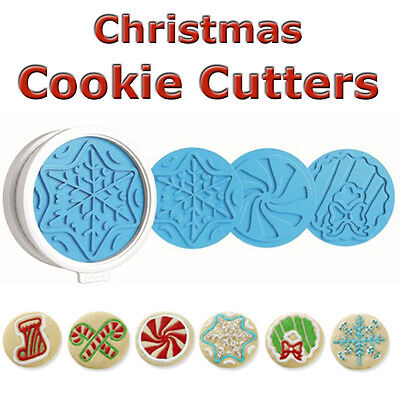 Christmas Xmas Cookie Cutters Set 6 Designs Templates, Tovolo, New