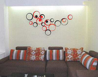 1 Set Indoors Decoration Circles Stereo Removable 3D Art Wall Stickers Cheap SH