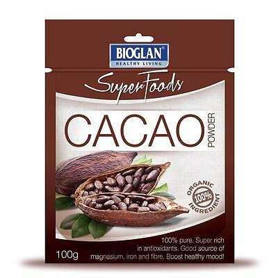 Bioglan Superfoods Cacao Powder 100g Organic Baking Smoothies Shakes Breakfasts