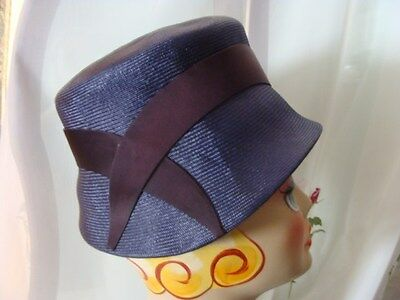 """Stove Pipe Womens Navy Blue Straw Hat 21"""" Real Vintage Audrey Hepburn Mod Style"""