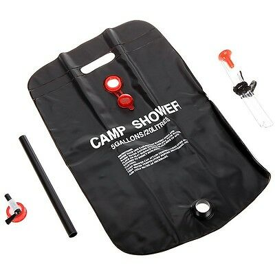 Free PP 20L CAMPING 5 GALLON PVC SOLAR SHOWER PACK W/ HANGING ROPE,