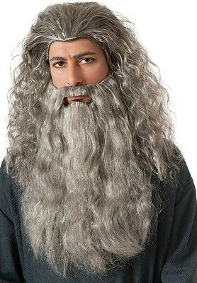 Adult Movie LOTR Lord of the Rings The Hobbit Gandalf Wizard Costume Wig & Beard