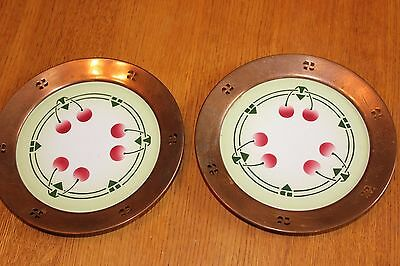 VTG Arts and Crafts pottery & copper plates w/ cherries Beehive mark