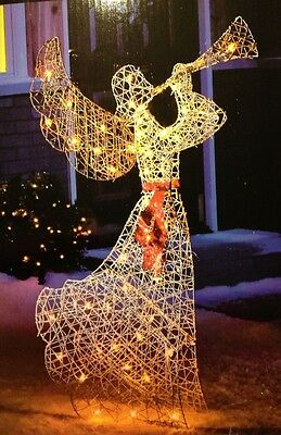 """52"""" LIGHTED ANGEL BLOWING HORN CHRISTMAS DECOR OUTDOOR INDOOR YARD"""