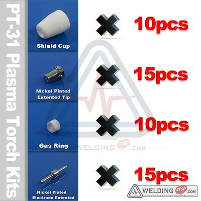 Nickel coated air Plasma PT-31 EXTENTED kits cutting torch tip+electrode 50pcs