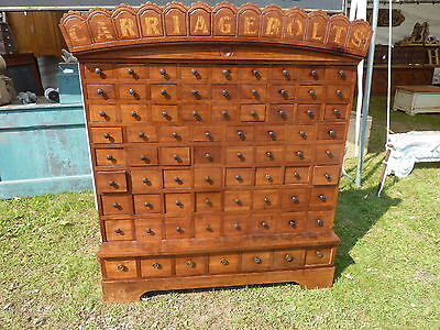 "circa 1870 CUSTOM made cherry CARRIAGE BOLT hardware store cabinet 57"" h x 50"" w"