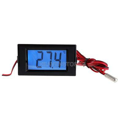 Digital Blue LCD Thermometer Temperature Panel Meter With Probe Sensor hv2n