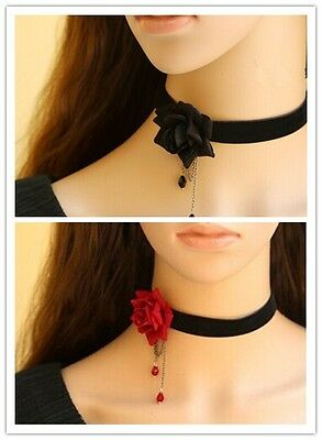 Gothic Victorian Black Velvet Ribbon Choker Necklace with Red/Black Rose LN010