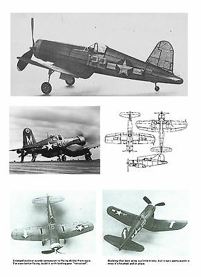 MODEL AIRPLANE PLANS FULL SIZE PRINTED PLAN PEANUT SCALE CORSAIR BENT-WING