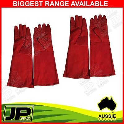 2 PAIRS  Welding Gloves High Temperature Leather Protection Welder Hands Long