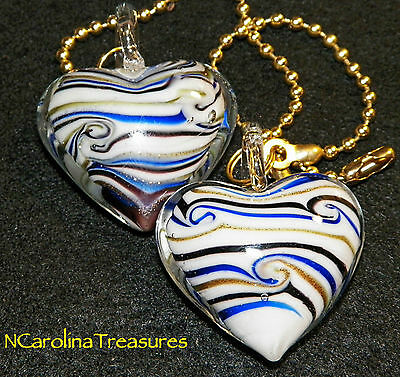 Murano Glass Ceiling Fan Switch Pull Blue Gold Stripe Heart Hearts Large Pair