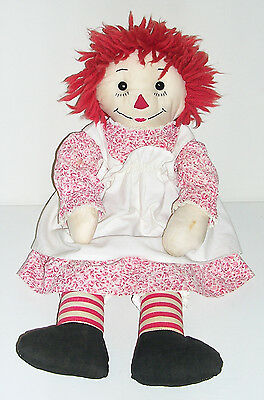"""Sweet Vintage 50's/60's Hand Made 19"""" Raggedy Ann Doll, Black Glass Button Eyes"""