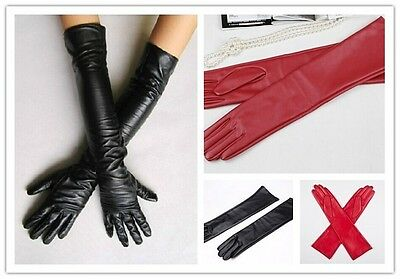 Women's Faux Leather Long Gloves Evening Party Fashion Warm Gloves GL004
