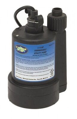 Superior Pump 1/4 HP Thermoplastic Submersible Utility Pump, 91250, New
