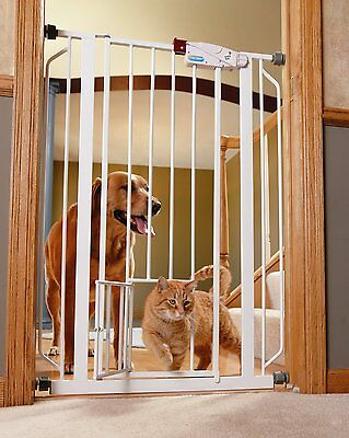 Carlson Extra-Tall Walk-Thru Gate with Pet Door, White, 0941PW, New