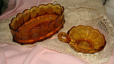 FOSTORIA AMBER COIN GLASS OVAL BOWL, AND A NAPPY