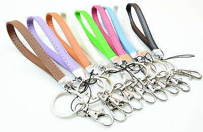 Leather Wristlet Signature Key Chain, Key fob for Key / ID badge