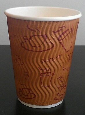 400set 12 oz Brown Triple Ripple wall disposable paper coffee cups and lids