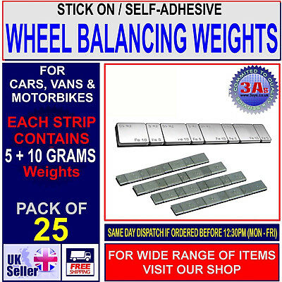 25 x STICK-ON/SELF-ADHESIVE WHEEL BALANCING WEIGHTS FOR VAN,CAR & MOTORCYCLE