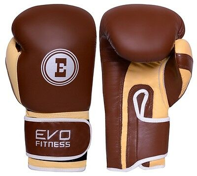 EVO Premium Pure Leather Boxing Glove MMA Kick Muay Thai Punch Bag Sparring UFC