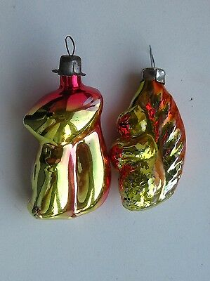 """Vintage Christmas Russian silver Glass Ornaments """"2 Squirrels"""""""